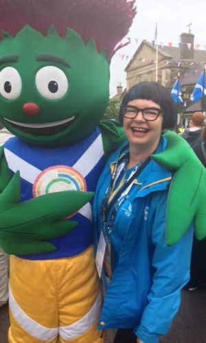 Lesa with Commonwealth Games 2014 mascot 'Clyde'